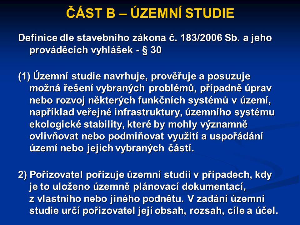 ČÁST B – ÚZEMNÍ STUDIE Definice dle stavebního zákona č. 183/2006 Sb. a jeho prováděcích vyhlášek - § 30 (1) Územní studie navrhuje, prověřuje a posuz