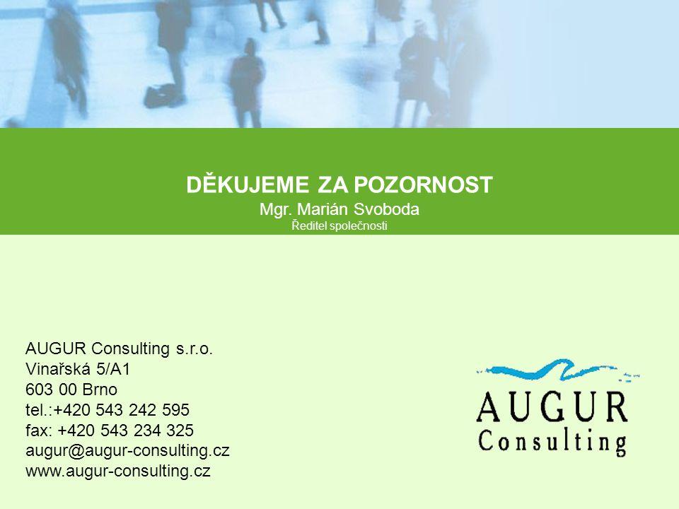 DĚKUJEME ZA POZORNOST Mgr. Marián Svoboda Ředitel společnosti AUGUR Consulting s.r.o. Vinařská 5/A1 603 00 Brno tel.:+420 543 242 595 fax: +420 543 23