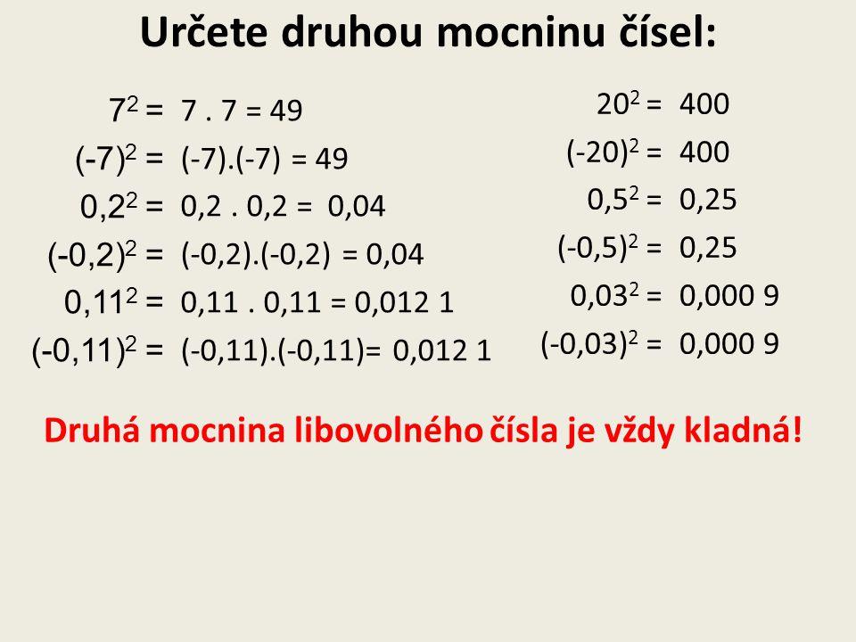 Určete druhou mocninu čísel: 7 2 = (-7) 2 = 0,2 2 = (-0,2) 2 = 0,11 2 = (-0,11) 2 = 7. 7 = 49 (-7).(-7) = 49 0,2. = 0,04 (-0,2).(-0,2) = 0,04 0,11. =