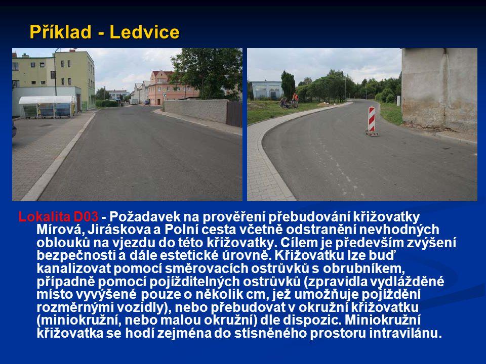 Příklad - Ledvice Lokalita D03 - Požadavek na prověření přebudování křižovatky Mírová, Jiráskova a Polní cesta včetně odstranění nevhodných oblouků na