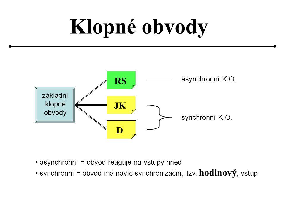 Synchronní obvod reaguje pouze v okamžiku, kdy je na hodinovém vstupu vzestupná (resp.