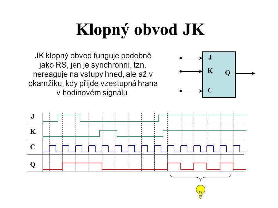 Klopný obvod D Klopný obvod D pouze kopíruje stav ze vstupu D na výstup Q v okamžiku, kdy přijde vzestupná hrana v hodinovém signálu.
