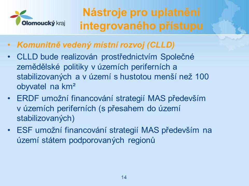 Komunitně vedený místní rozvoj (CLLD) CLLD bude realizován prostřednictvím Společné zemědělské politiky v územích periferních a stabilizovaných a v území s hustotou menší než 100 obyvatel na km² ERDF umožní financování strategií MAS především v územích periferních (s přesahem do území stabilizovaných) ESF umožní financování strategií MAS především na území státem podporovaných regionů Nástroje pro uplatnění integrovaného přístupu 14