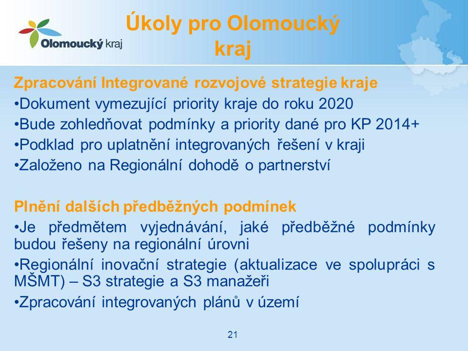Zpracování Integrované rozvojové strategie kraje Dokument vymezující priority kraje do roku 2020 Bude zohledňovat podmínky a priority dané pro KP 2014+ Podklad pro uplatnění integrovaných řešení v kraji Založeno na Regionální dohodě o partnerství Plnění dalších předběžných podmínek Je předmětem vyjednávání, jaké předběžné podmínky budou řešeny na regionální úrovni Regionální inovační strategie (aktualizace ve spolupráci s MŠMT) – S3 strategie a S3 manažeři Zpracování integrovaných plánů v území Úkoly pro Olomoucký kraj 21