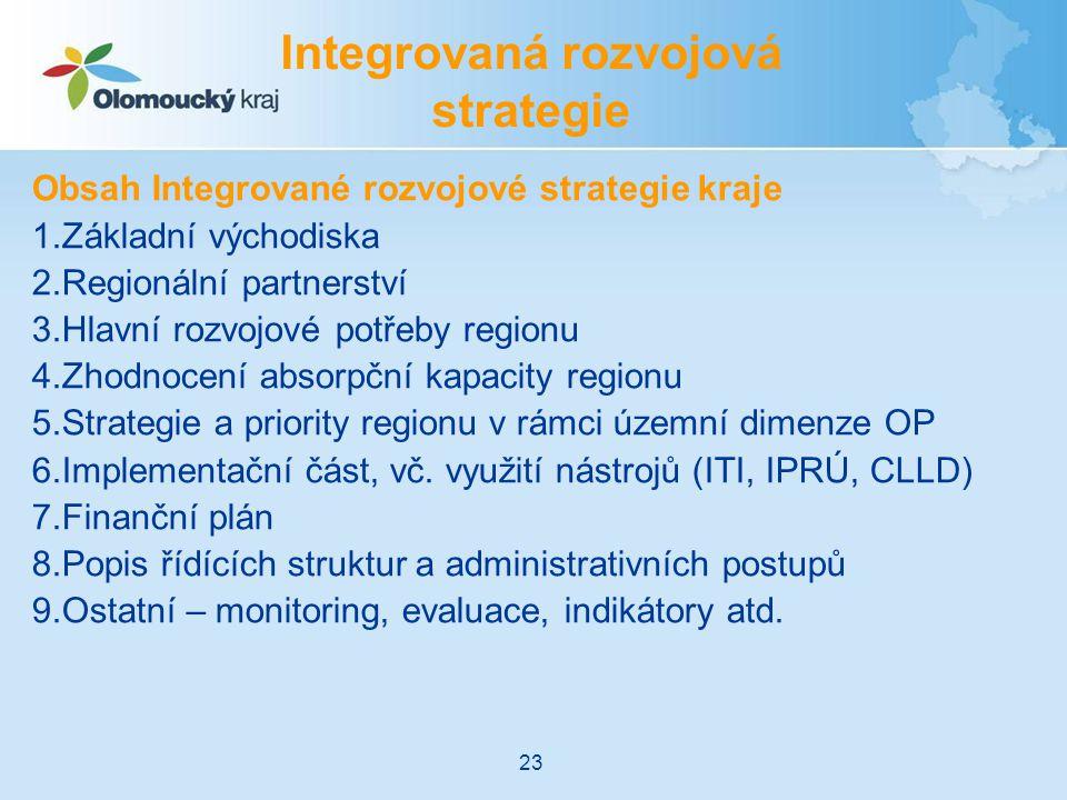Obsah Integrované rozvojové strategie kraje 1.Základní východiska 2.Regionální partnerství 3.Hlavní rozvojové potřeby regionu 4.Zhodnocení absorpční kapacity regionu 5.Strategie a priority regionu v rámci územní dimenze OP 6.Implementační část, vč.