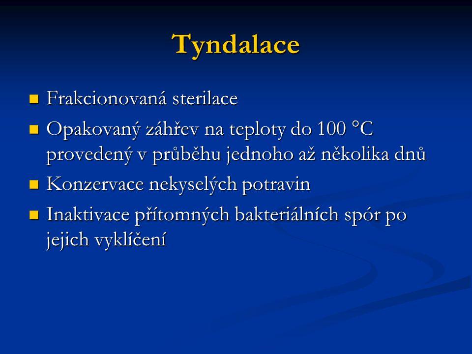 Tyndalace Frakcionovaná sterilace Frakcionovaná sterilace Opakovaný záhřev na teploty do 100 °C provedený v průběhu jednoho až několika dnů Opakovaný záhřev na teploty do 100 °C provedený v průběhu jednoho až několika dnů Konzervace nekyselých potravin Konzervace nekyselých potravin Inaktivace přítomných bakteriálních spór po jejich vyklíčení Inaktivace přítomných bakteriálních spór po jejich vyklíčení