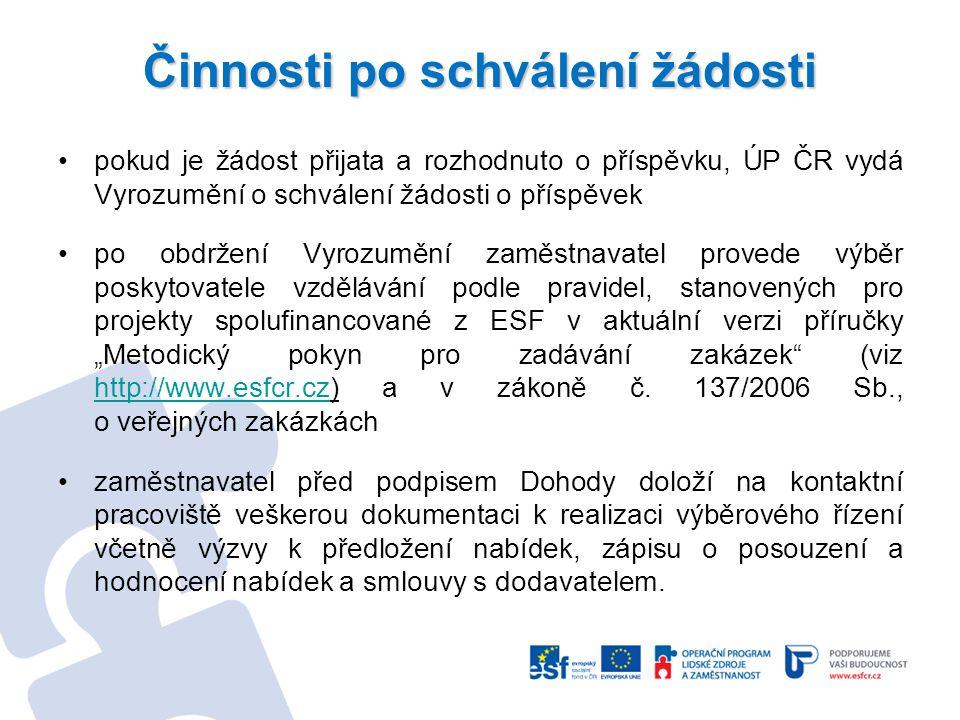 Činnosti po schválení žádosti pokud je žádost přijata a rozhodnuto o příspěvku, ÚP ČR vydá Vyrozumění o schválení žádosti o příspěvek po obdržení Vyro