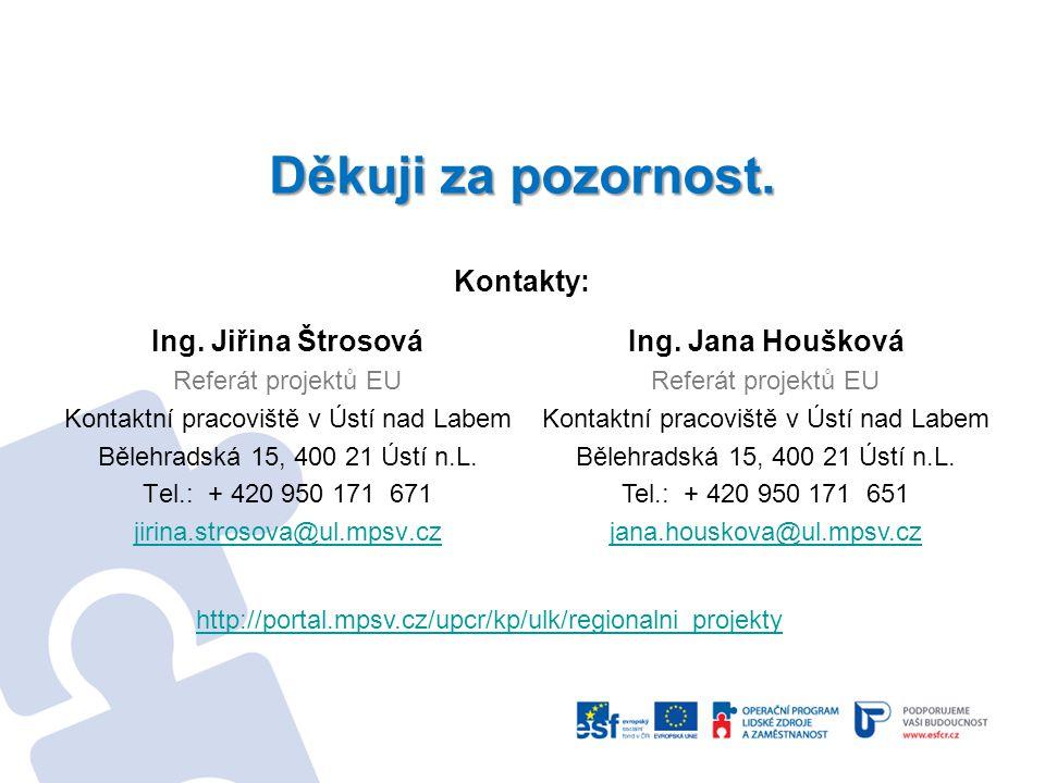 Ing. Jiřina Štrosová Referát projektů EU Kontaktní pracoviště v Ústí nad Labem Bělehradská 15, 400 21 Ústí n.L. Tel.: + 420 950 171 671 jirina.strosov