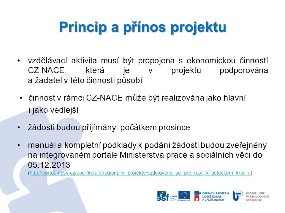 Princip a přínos projektu vzdělávací aktivita musí být propojena s ekonomickou činností CZ-NACE, která je v projektu podporována a žadatel v této činn