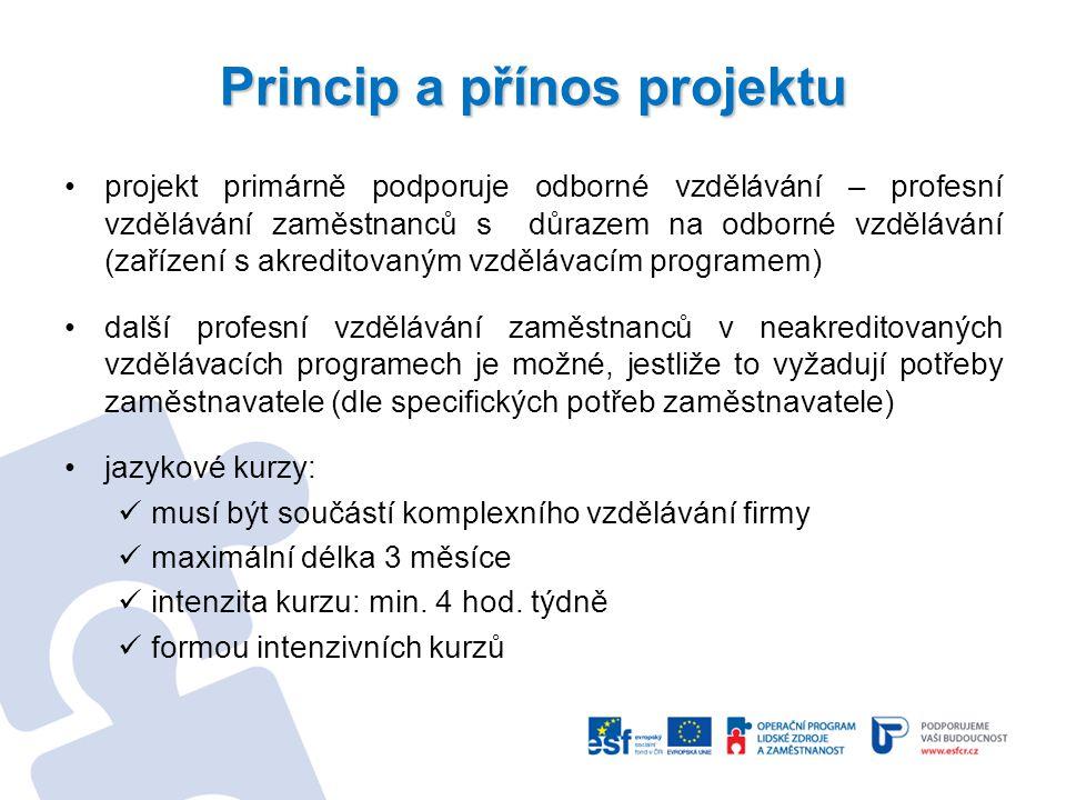 Princip a přínos projektu projekt primárně podporuje odborné vzdělávání – profesní vzdělávání zaměstnanců s důrazem na odborné vzdělávání (zařízení s