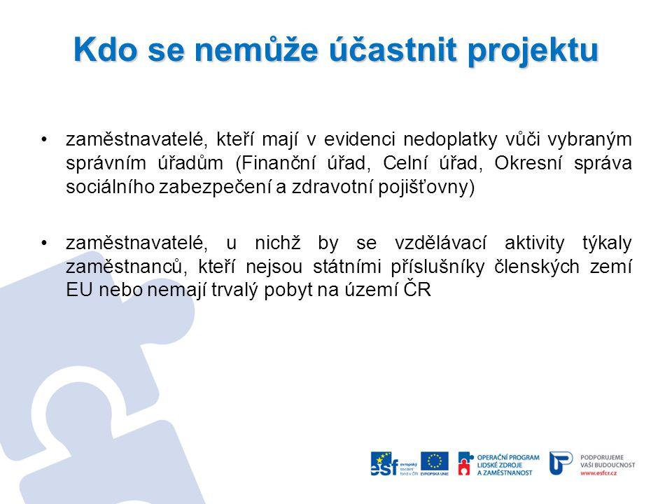 Kdo se nemůže účastnit projektu zaměstnavatelé, kteří mají v evidenci nedoplatky vůči vybraným správním úřadům (Finanční úřad, Celní úřad, Okresní spr