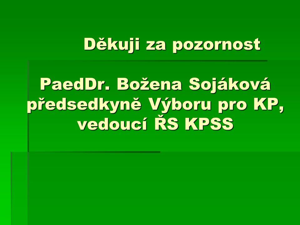 Děkuji za pozornost PaedDr. Božena Sojáková předsedkyně Výboru pro KP, vedoucí ŘS KPSS Děkuji za pozornost PaedDr. Božena Sojáková předsedkyně Výboru