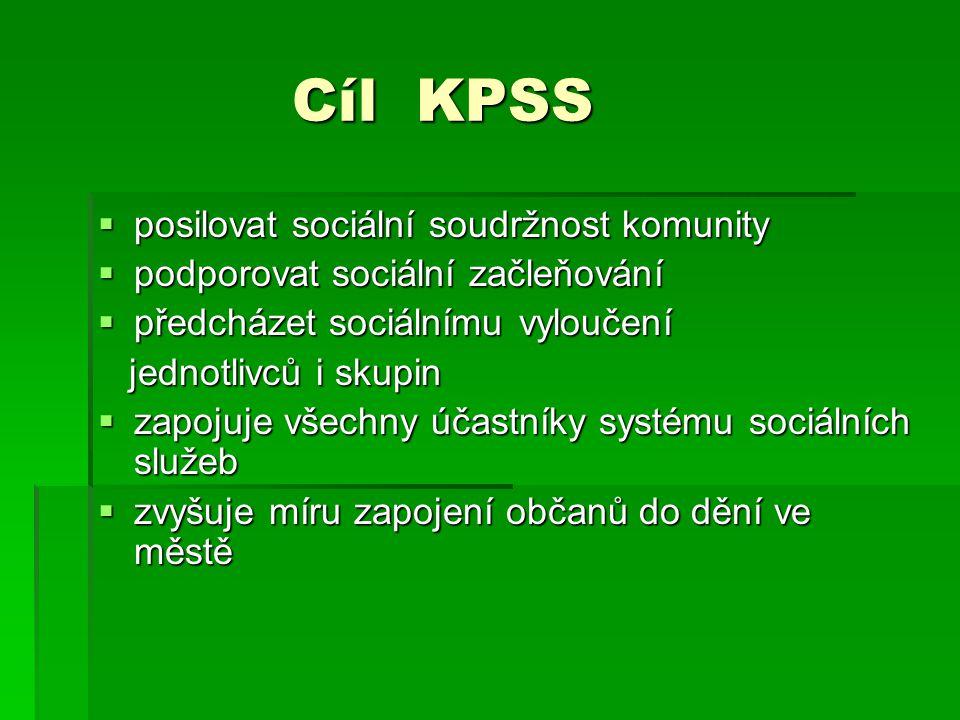 Cíl KPSS Cíl KPSS  posilovat sociální soudržnost komunity  podporovat sociální začleňování  předcházet sociálnímu vyloučení jednotlivců i skupin je