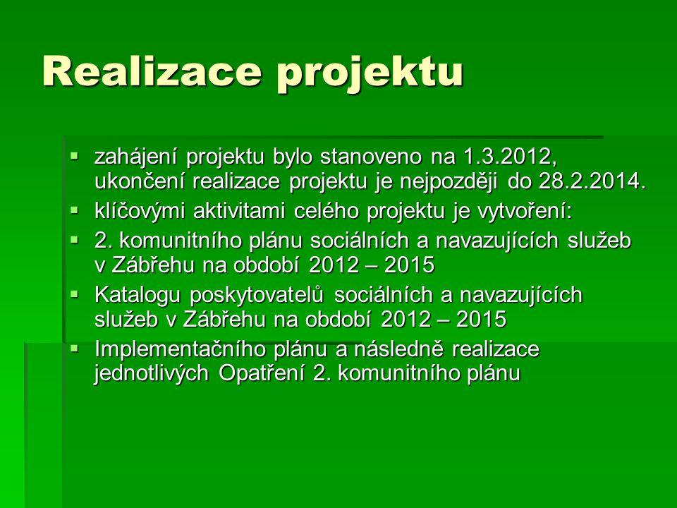 Realizace projektu  zahájení projektu bylo stanoveno na 1.3.2012, ukončení realizace projektu je nejpozději do 28.2.2014.  klíčovými aktivitami celé