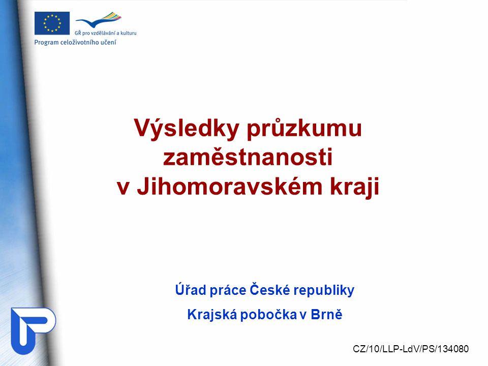 Úřad práce České republiky Krajská pobočka v Brně Výsledky průzkumu zaměstnanosti v Jihomoravském kraji CZ/10/LLP-LdV/PS/134080