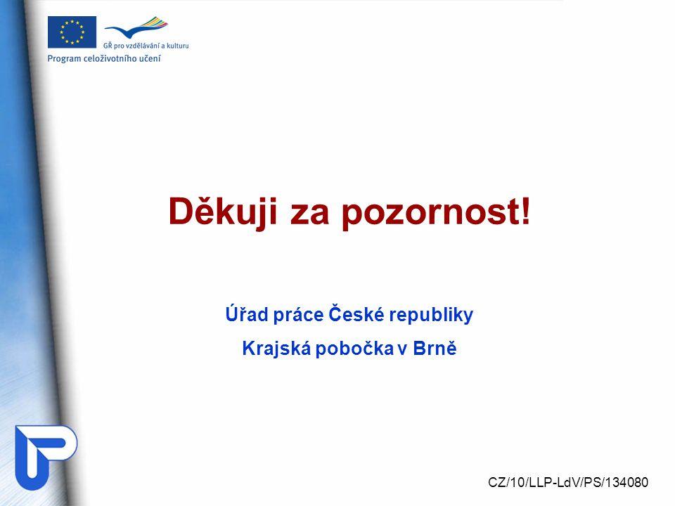 Děkuji za pozornost! Úřad práce České republiky Krajská pobočka v Brně CZ/10/LLP-LdV/PS/134080