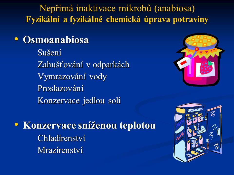 Nepřímá inaktivace mikrobů (anabiosa) Chemická úprava potraviny (chemoanabiosa) Chemická konzervace Chemická konzervace Konzervace rafinovanými chemikáliemi Uzení Konzervace umělou alkoholizací a okyselováním Konzervace umělou alkoholizací a okyselovánímEthanol Organické kyseliny Konzervace antibiotiky Konzervace antibiotiky Konzervace fytoncidy Konzervace fytoncidy