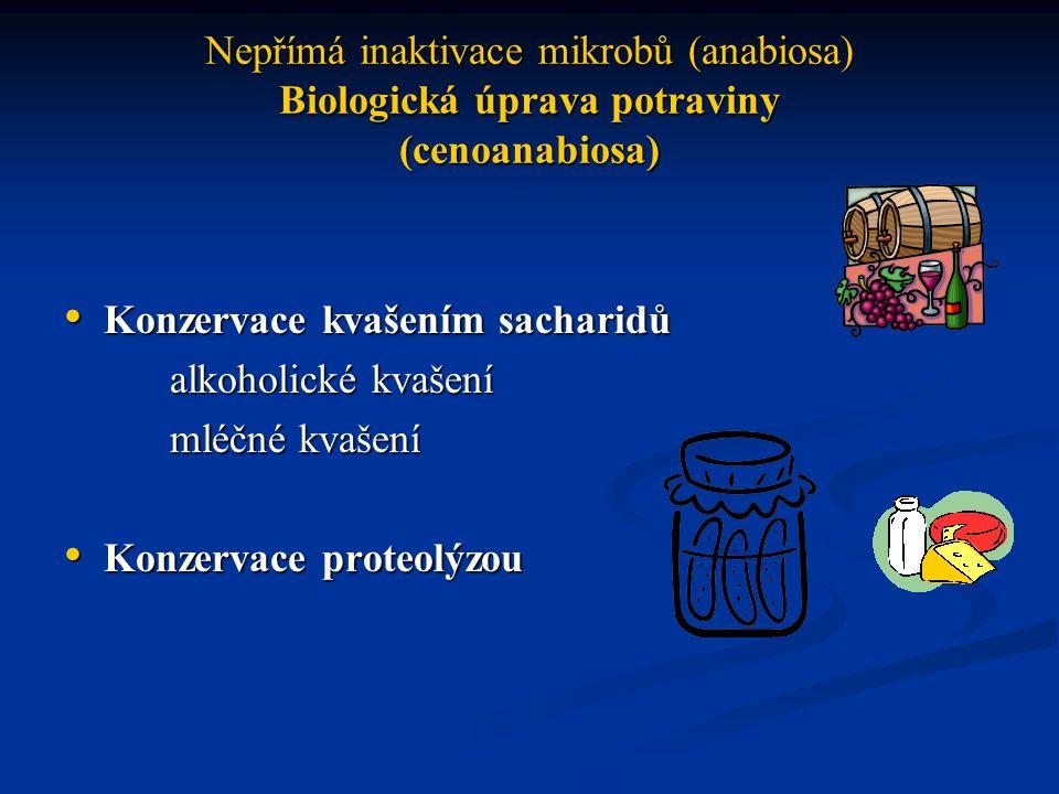 Nepřímá inaktivace mikrobů (anabiosa) Biologická úprava potraviny (cenoanabiosa) Konzervace kvašením sacharidů Konzervace kvašením sacharidů alkoholické kvašení mléčné kvašení Konzervace proteolýzou Konzervace proteolýzou
