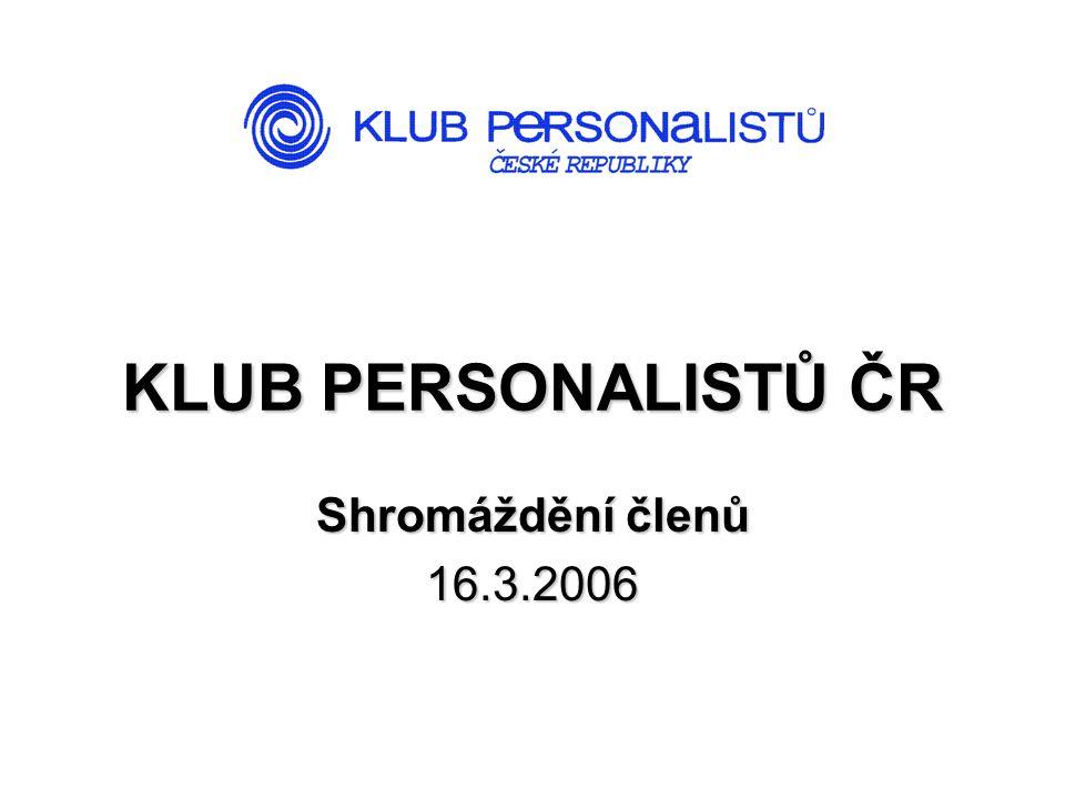 KLUB PERSONALISTŮ ČR Shromáždění členů 16.3.2006