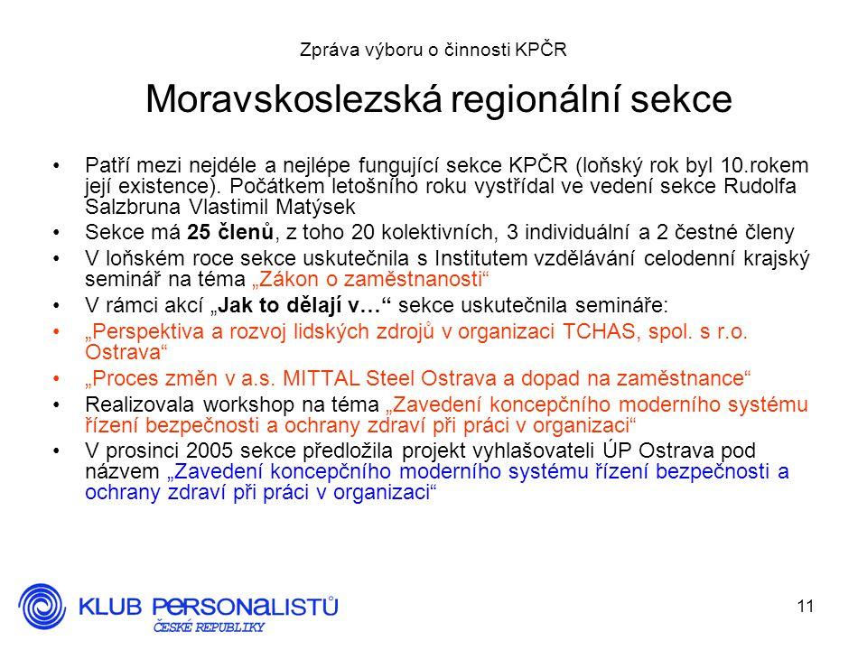 11 Zpráva výboru o činnosti KPČR Moravskoslezská regionální sekce Patří mezi nejdéle a nejlépe fungující sekce KPČR (loňský rok byl 10.rokem její existence).