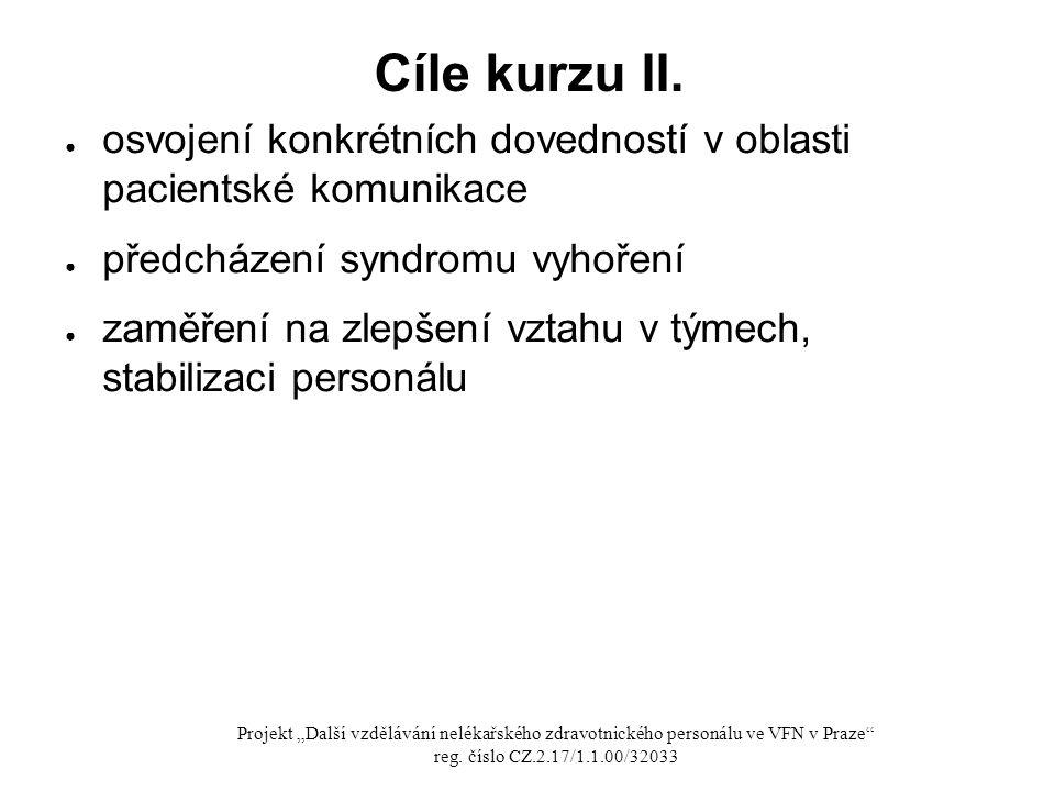 Cíle kurzu II. ● osvojení konkrétních dovedností v oblasti pacientské komunikace ● předcházení syndromu vyhoření ● zaměření na zlepšení vztahu v týmec