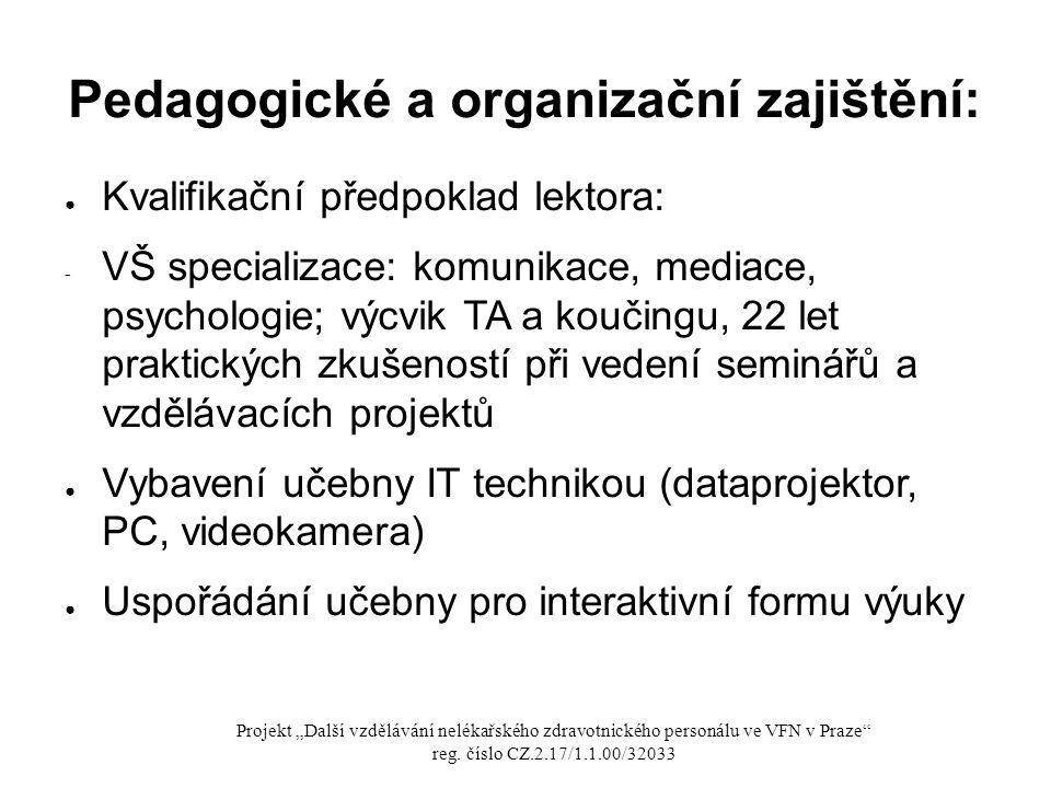 Pedagogické a organizační zajištění: ● Kvalifikační předpoklad lektora: - VŠ specializace: komunikace, mediace, psychologie; výcvik TA a koučingu, 22