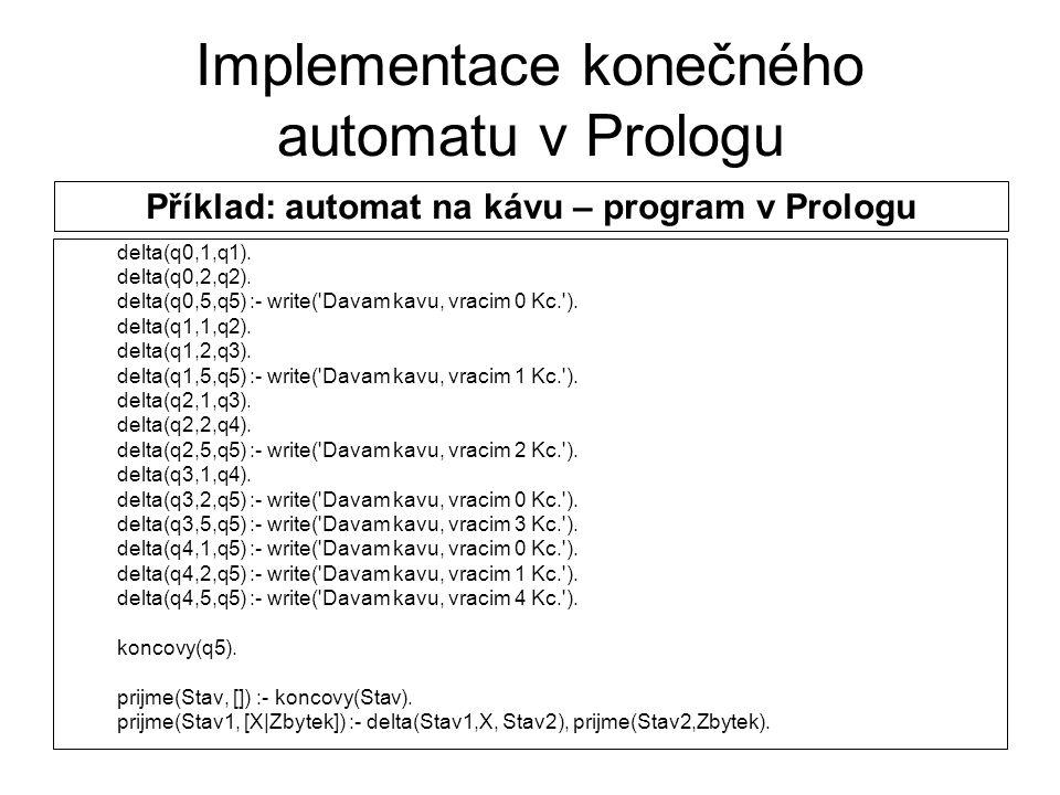 Implementace konečného automatu v Prologu delta(q0,1,q1). delta(q0,2,q2). delta(q0,5,q5) :- write('Davam kavu, vracim 0 Kc.'). delta(q1,1,q2). delta(q