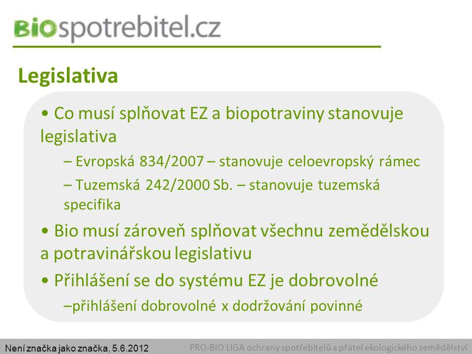 Legislativa PRO-BIO LIGA ochrany spotřebitelů a přátel ekologického zemědělství Co musí splňovat EZ a biopotraviny stanovuje legislativa – Evropská 834/2007 – stanovuje celoevropský rámec – Tuzemská 242/2000 Sb.