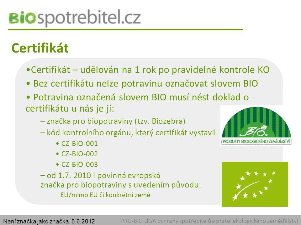 Certifikát PRO-BIO LIGA ochrany spotřebitelů a přátel ekologického zemědělství Certifikát – udělován na 1 rok po pravidelné kontrole KO Bez certifikátu nelze potravinu označovat slovem BIO Potravina označená slovem BIO musí nést doklad o certifikátu u nás je jí: – značka pro biopotraviny (tzv.
