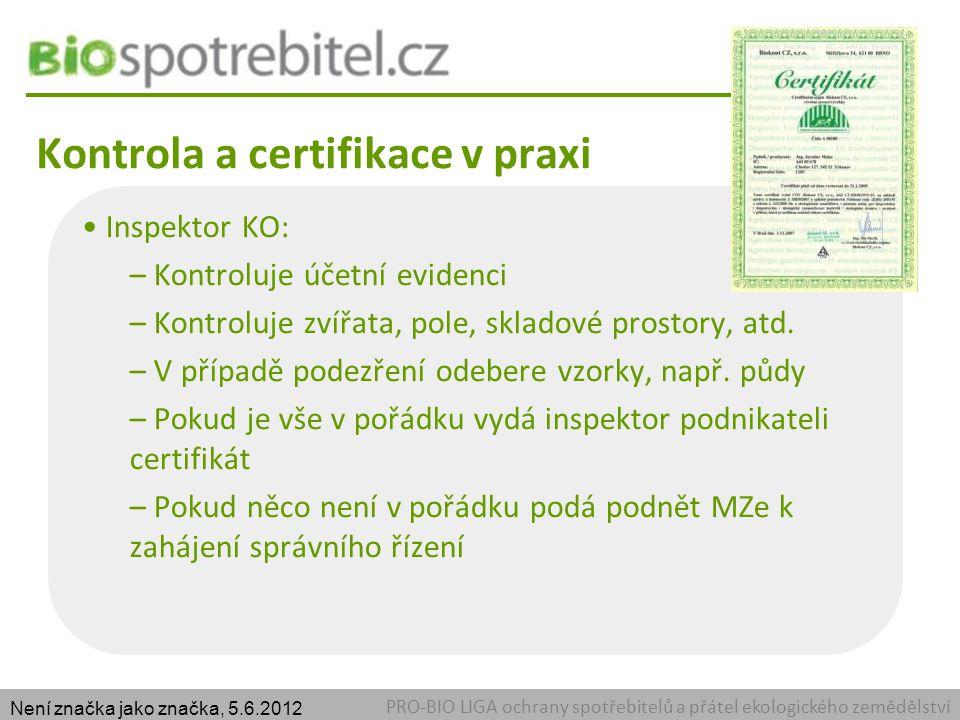 Kontrola a certifikace v praxi PRO-BIO LIGA ochrany spotřebitelů a přátel ekologického zemědělství Inspektor KO: – Kontroluje účetní evidenci – Kontroluje zvířata, pole, skladové prostory, atd.