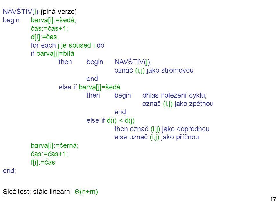 17 NAVŠTIV(i) {plná verze} beginbarva[i]:=šedá; čas:=čas+1; d[i]:=čas; for each j je soused i do if barva[j]=bílá then beginNAVŠTIV(j); označ (i,j) ja