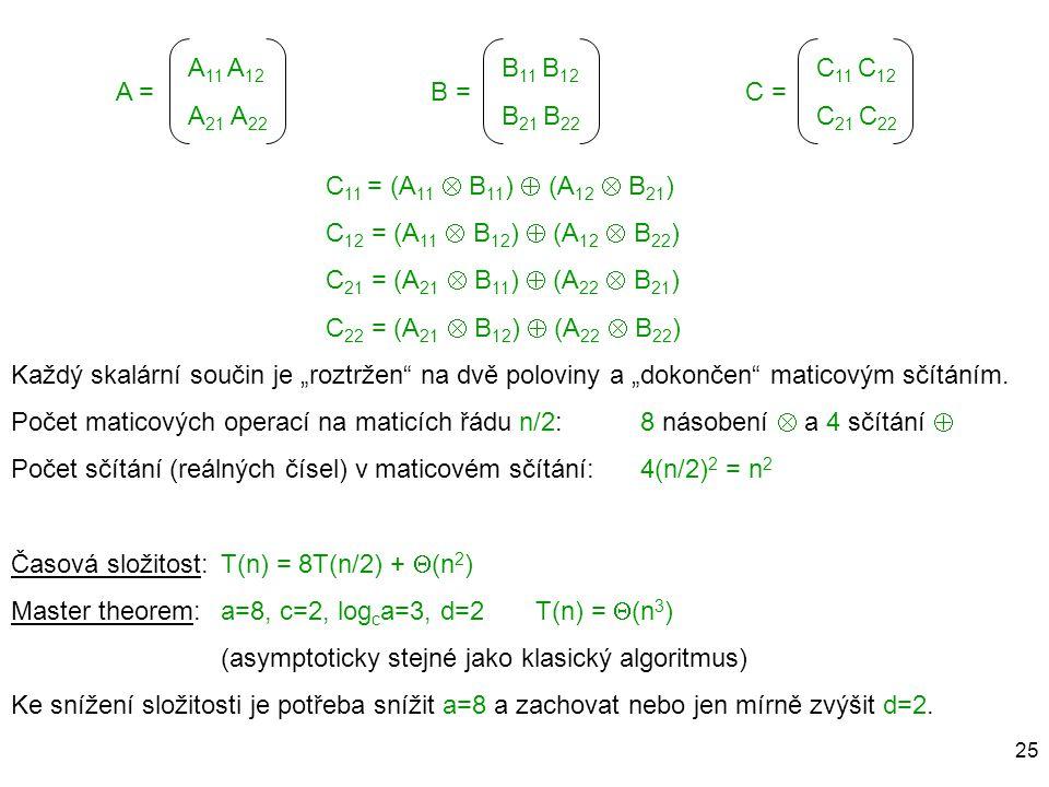 25 A =B =C = C 11 = (A 11  B 11 )  (A 12  B 21 ) C 12 = (A 11  B 12 )  (A 12  B 22 ) C 21 = (A 21  B 11 )  (A 22  B 21 ) C 22 = (A 21  B 12