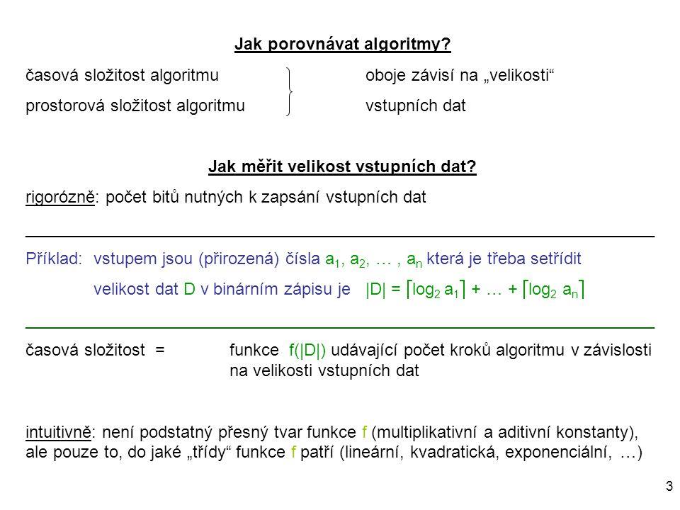 """3 Jak porovnávat algoritmy? časová složitost algoritmuoboje závisí na """"velikosti"""" prostorová složitost algoritmuvstupních dat Jak měřit velikost vstup"""