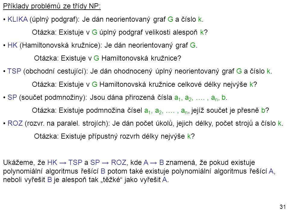 31 Příklady problémů ze třídy NP: KLIKA (úplný podgraf): Je dán neorientovaný graf G a číslo k. Otázka: Existuje v G úplný podgraf velikosti alespoň k