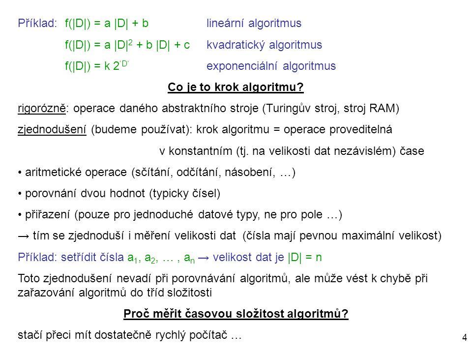 4 Příklad:f(|D|) = a |D| + blineární algoritmus f(|D|) = a |D| 2 + b |D| + c kvadratický algoritmus f(|D|) = k 2 'D' exponenciální algoritmus Co je to