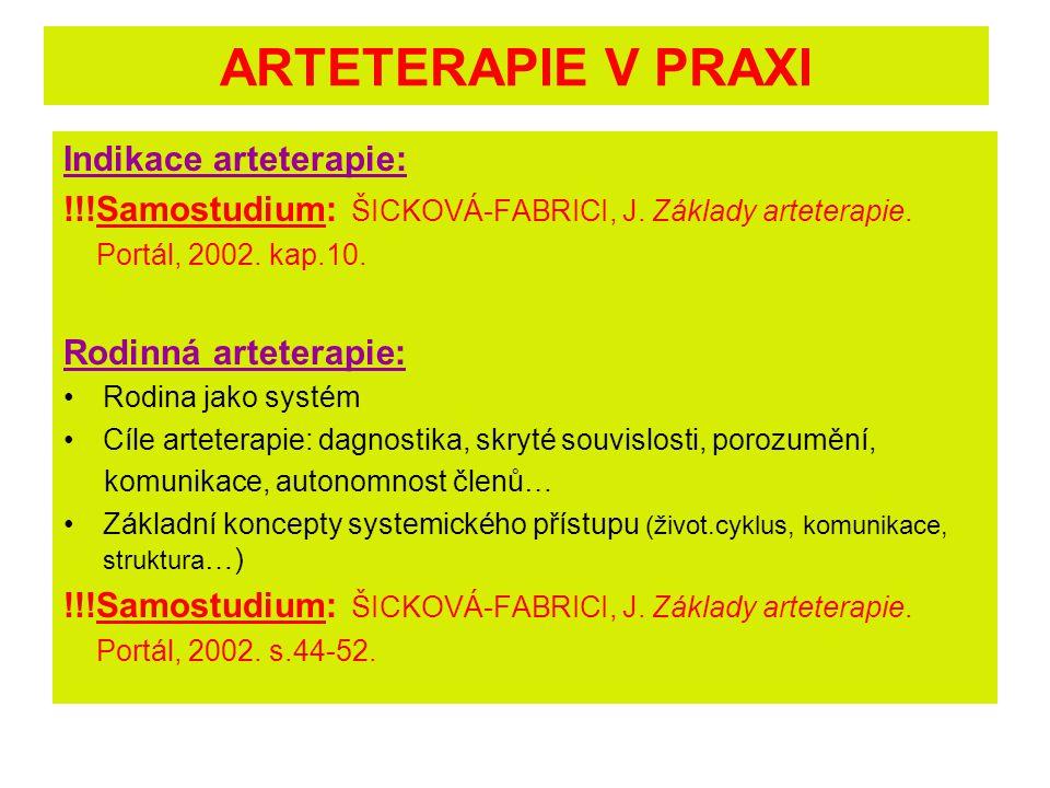 ARTETERAPIE V PRAXI Indikace arteterapie: !!!Samostudium: ŠICKOVÁ-FABRICI, J. Základy arteterapie. Portál, 2002. kap.10. Rodinná arteterapie: Rodina j