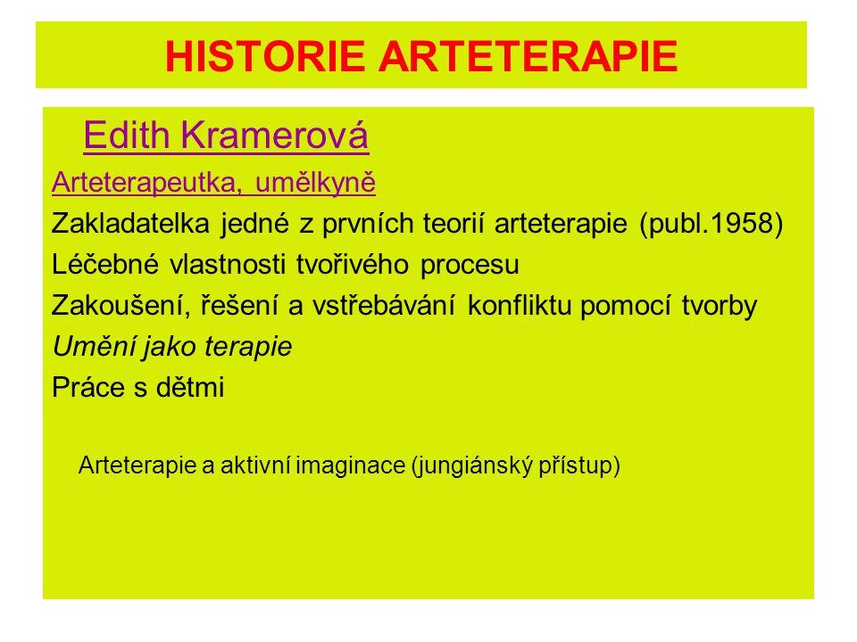 HISTORIE ARTETERAPIE Edith Kramerová Arteterapeutka, umělkyně Zakladatelka jedné z prvních teorií arteterapie (publ.1958) Léčebné vlastnosti tvořivého