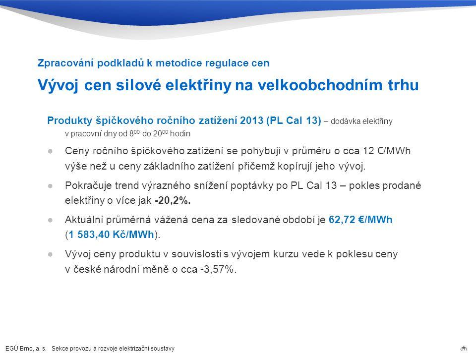 EGÚ Brno, a. s. Sekce provozu a rozvoje elektrizační soustavy 12 Vývoj cen silové elektřiny na velkoobchodním trhu Produkty špičkového ročního zatížen