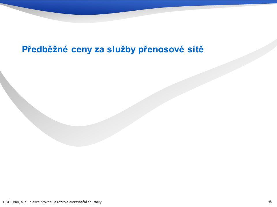 EGÚ Brno, a. s. Sekce provozu a rozvoje elektrizační soustavy 14 Předběžné ceny za služby přenosové sítě