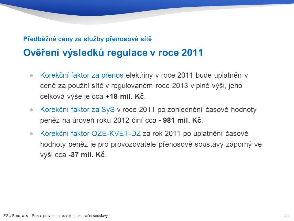 EGÚ Brno, a. s. Sekce provozu a rozvoje elektrizační soustavy 16 Ověření výsledků regulace v roce 2011 ●Korekční faktor za přenos elektřiny v roce 201