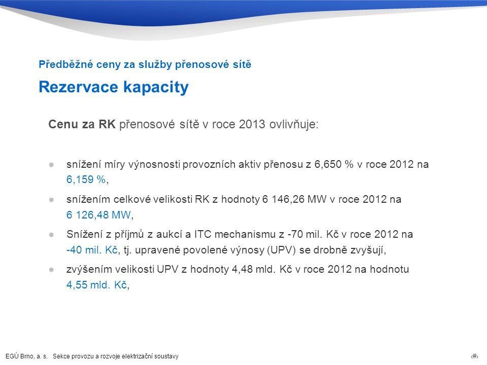 EGÚ Brno, a. s. Sekce provozu a rozvoje elektrizační soustavy 17 Rezervace kapacity Cenu za RK přenosové sítě v roce 2013 ovlivňuje: ●snížení míry výn