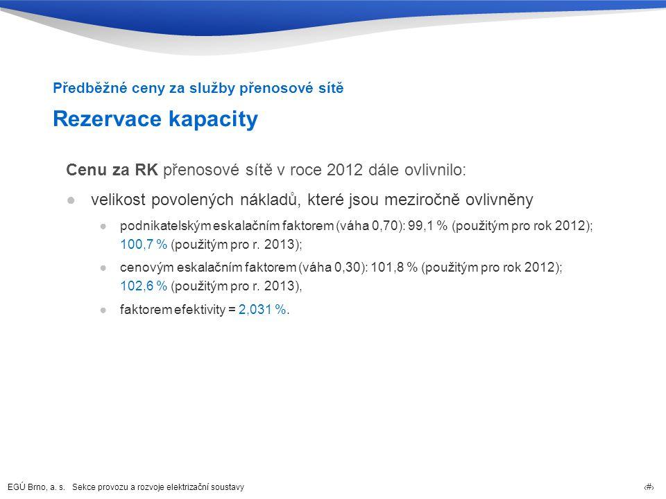 EGÚ Brno, a. s. Sekce provozu a rozvoje elektrizační soustavy 18 Rezervace kapacity Cenu za RK přenosové sítě v roce 2012 dále ovlivnilo: ●velikost po