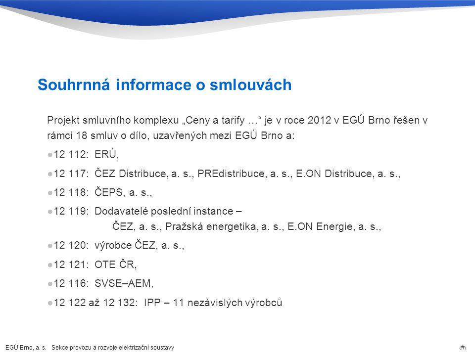 """EGÚ Brno, a. s. Sekce provozu a rozvoje elektrizační soustavy 2 Souhrnná informace o smlouvách Projekt smluvního komplexu """"Ceny a tarify …"""" je v roce"""