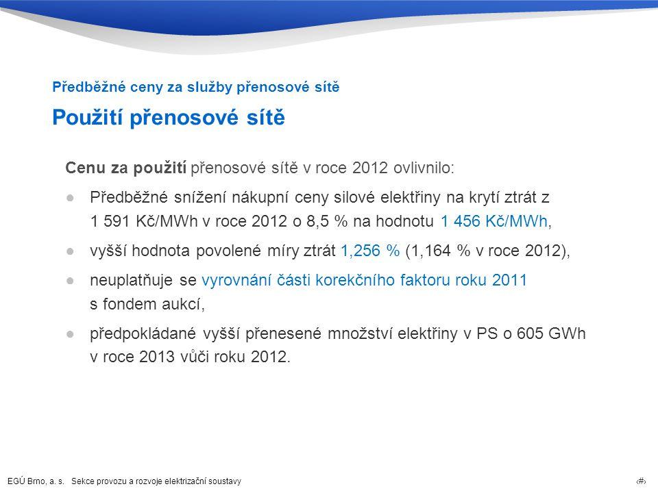 EGÚ Brno, a. s. Sekce provozu a rozvoje elektrizační soustavy 20 Použití přenosové sítě Cenu za použití přenosové sítě v roce 2012 ovlivnilo: ●Předběž