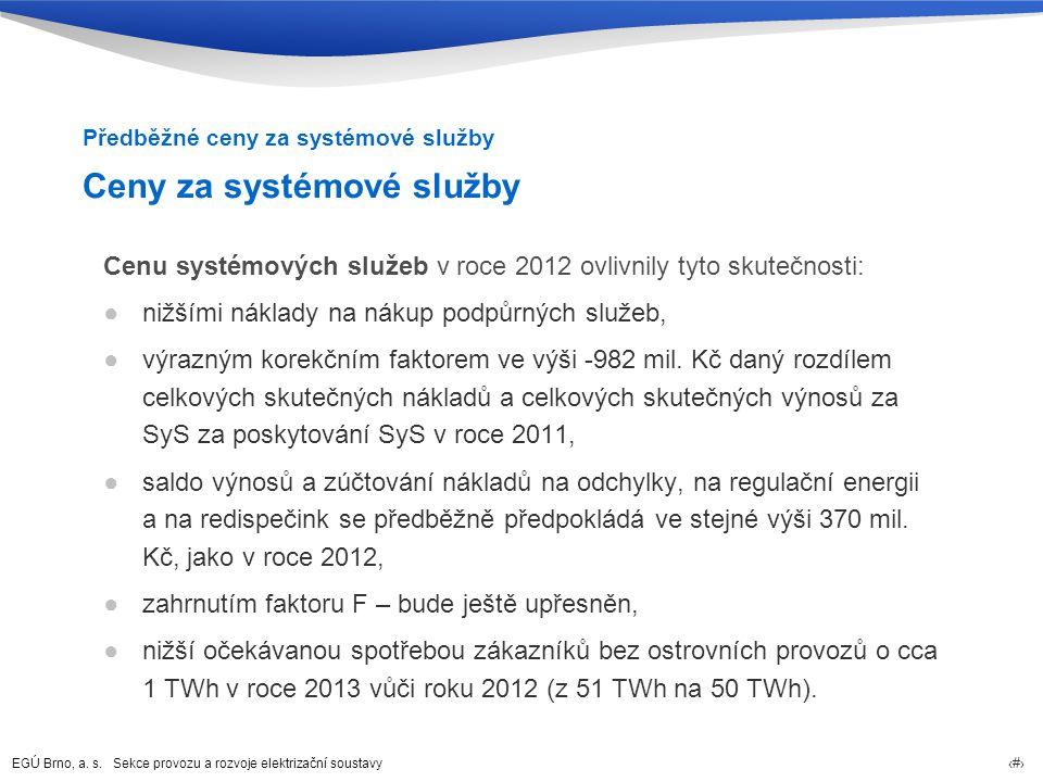 EGÚ Brno, a. s. Sekce provozu a rozvoje elektrizační soustavy 23 Ceny za systémové služby Cenu systémových služeb v roce 2012 ovlivnily tyto skutečnos