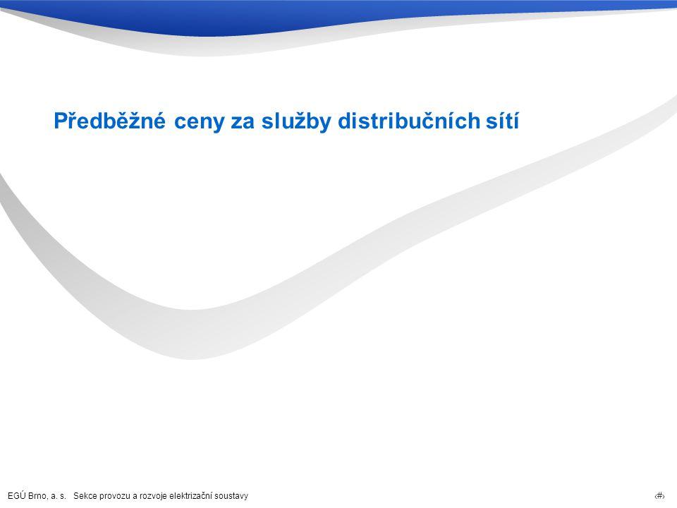 EGÚ Brno, a. s. Sekce provozu a rozvoje elektrizační soustavy 25 Předběžné ceny za služby distribučních sítí