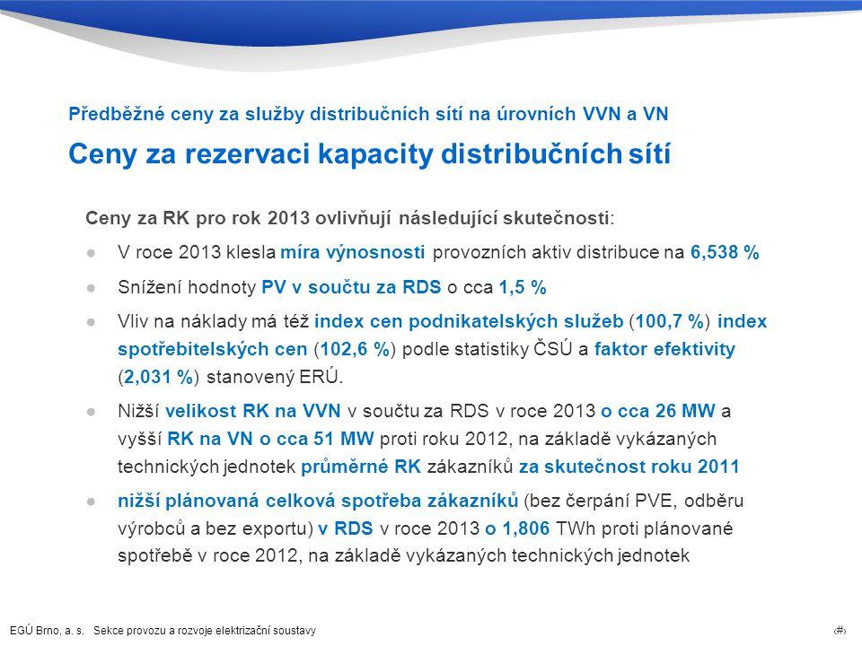 EGÚ Brno, a. s. Sekce provozu a rozvoje elektrizační soustavy 26 Ceny za rezervaci kapacity distribučních sítí Ceny za RK pro rok 2013 ovlivňují násle
