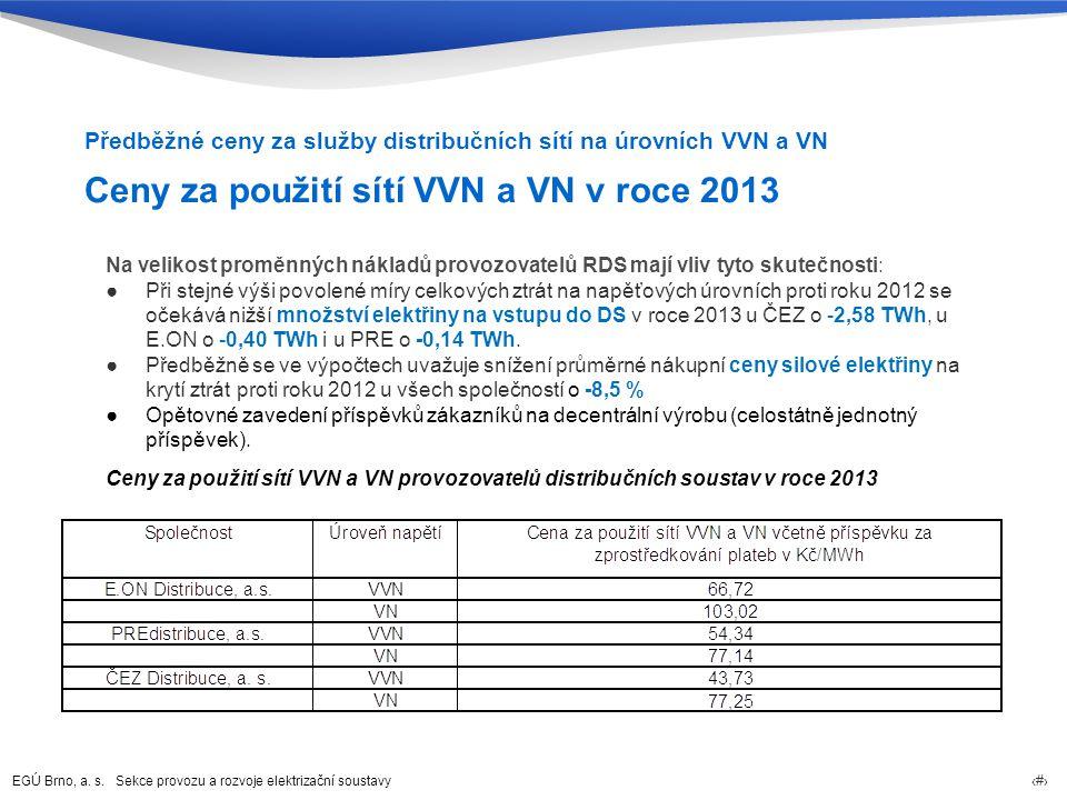 EGÚ Brno, a. s. Sekce provozu a rozvoje elektrizační soustavy 29 Ceny za použití sítí VVN a VN v roce 2013 Předběžné ceny za služby distribučních sítí