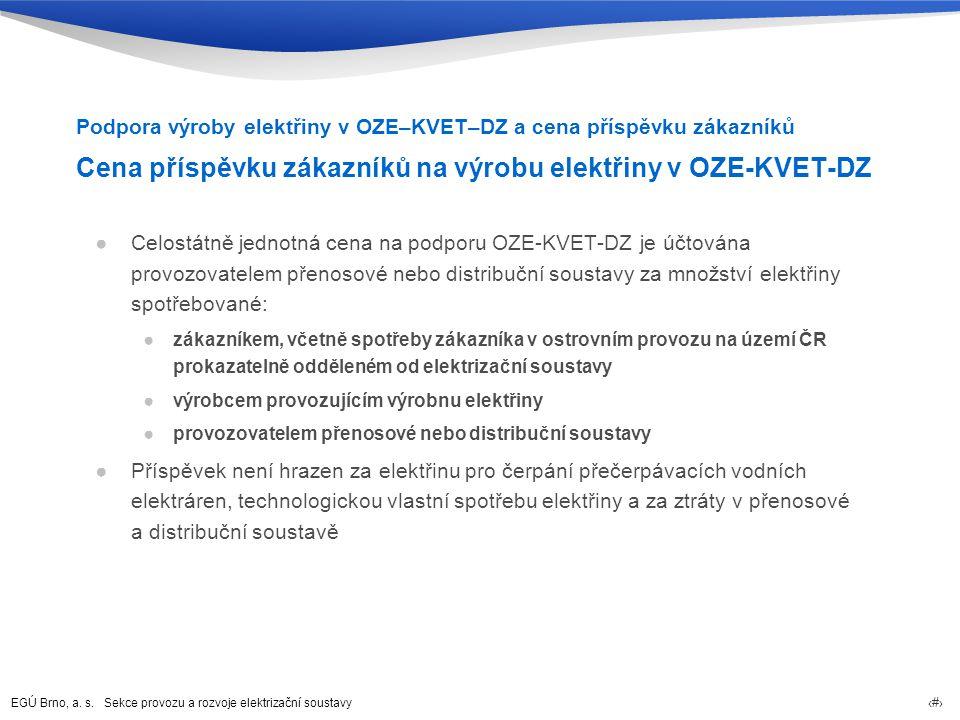 EGÚ Brno, a. s. Sekce provozu a rozvoje elektrizační soustavy 42 Cena příspěvku zákazníků na výrobu elektřiny v OZE-KVET-DZ ●Celostátně jednotná cena