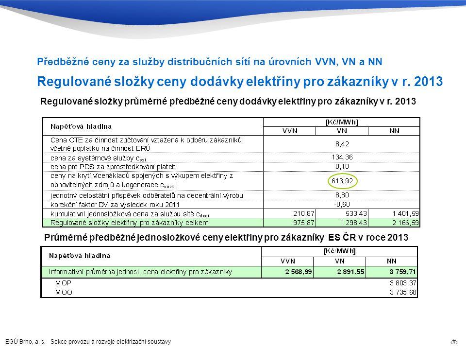 EGÚ Brno, a. s. Sekce provozu a rozvoje elektrizační soustavy 48 Regulované složky ceny dodávky elektřiny pro zákazníky v r. 2013 Předběžné ceny za sl